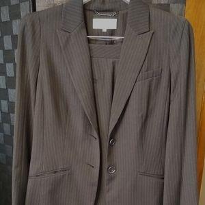 Calvin Klein Charcoal Gray Pinstripe Pantsuit 10